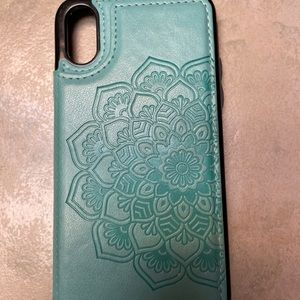 iPhone X teal blue mandala wallet case